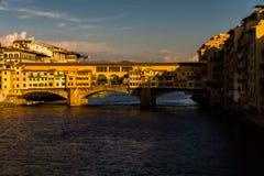 Ponte di Ponte Veccio, uguagliante luce, Firenze Fotografie Stock