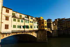 Ponte di Ponte Veccio, uguagliante luce, Firenze Fotografie Stock Libere da Diritti