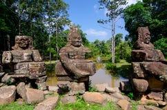 Ponte di Preah Khan Angkor Stone Carvings Gopura Fotografie Stock Libere da Diritti