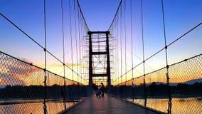 ponte di Rattanakosin Sompoch di 200 anni durante il cielo crepuscolare PR di Tak Fotografia Stock Libera da Diritti