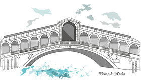 Ponte di Rialto. Vector illustration background or post card with brige rialto in venice Royalty Free Stock Photography