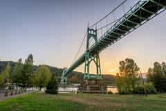 Ponte di St Johns a Portland Oregon fotografia stock