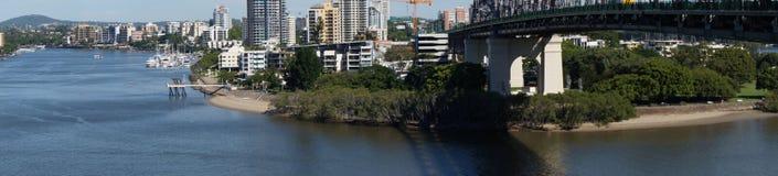 Ponte di storia e vista del fiume di Brisbane Fotografie Stock Libere da Diritti