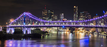 Ponte di storia sui nuovi anni EVE 2016 a Brisbane Fotografia Stock Libera da Diritti