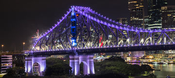 Ponte di storia sui nuovi anni EVE 2016 a Brisbane Fotografie Stock