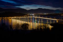 Ponte di Tasman alla notte Fotografia Stock Libera da Diritti