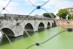 Ponte Di Tiberio, Rimini, Włochy zdjęcie stock