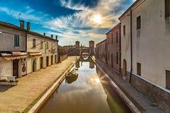 Ponte di Trepponti in Comacchio, piccola Venezia Fotografia Stock