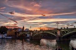 Ponte di Triana e di Sevilla Fotografia Stock Libera da Diritti