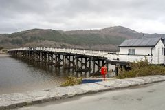 Ponte di tributo di legno di Penmaenpool Fotografia Stock Libera da Diritti