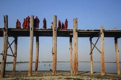 Ponte di U Bein, Mandalay, Myanmar Fotografia Stock