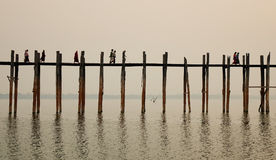 Ponte di U Bein a Mandalay, Myanmar Immagine Stock Libera da Diritti