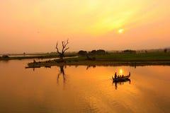 Ponte di Ubeng nel Myanmar Fotografia Stock