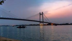 Ponte di Vidyasagar Setu/in secondo luogo Hooghly fotografia stock libera da diritti
