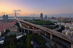 Ponte di Yangpu, Shanghai Immagini Stock
