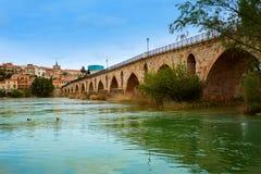 Ponte di Zamora Puente de Piedra sul fiume di Duero Fotografie Stock