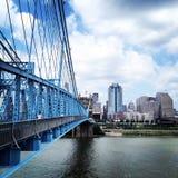 Ponte dia-Ohio de Cincinnati Roebling fotografia de stock royalty free