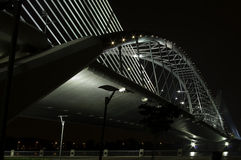 Ponte do aço da suspensão da noite Foto de Stock Royalty Free