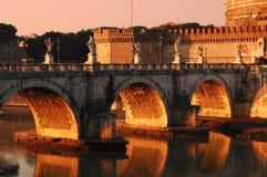 Ponte do anjo perto de Castel Sant'Angelo Fotografia de Stock