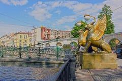 Ponte do banco em St Petersburg, Rússia. HDR Fotografia de Stock Royalty Free