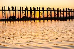Ponte do bein de U, Mandalay, Myanmar. fotografia de stock