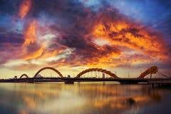 Ponte do dragão da cidade do Da Nang fotos de stock