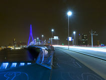 Ponte do Erasmus em Noite imagens de stock