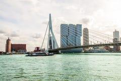 Ponte do Erasmus do panorama sobre o rio Meuse em Rotterdam foto de stock royalty free