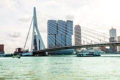 Ponte do Erasmus do panorama sobre o rio Meuse em Rotterdam fotografia de stock royalty free