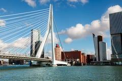 Ponte do Erasmus do panorama sobre o rio Meuse em Rotterdam fotografia de stock