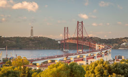 Ponte do Gama de Vasco a Dinamarca no crepúsculo Imagens de Stock Royalty Free