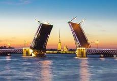 Ponte do palácio e Peter e Paul Fortress tirados na noite branca, St Petersburg, Rússia foto de stock royalty free