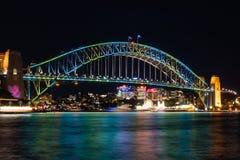 Ponte do porto durante Sydney Festival vívido Imagens de Stock