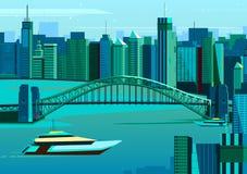 Ponte do porto em Sydney, Austrália ilustração do vetor