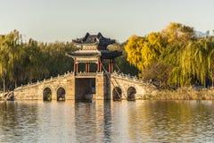 Ponte do salgueiro em Xidi do palácio de verão Fotos de Stock Royalty Free
