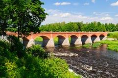 Ponte do tijolo, kuldiga Imagem de Stock Royalty Free