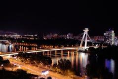 Ponte do Upraising nacional eslovaco, Danube River, capital Bratislava, Eslováquia fotografia de stock