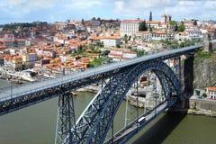 Ponte dom雷斯bridg在波尔图,葡萄牙 库存照片