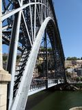 Ponte Dom Luis. A detail of Ponte Dom Luis. This bridge over the Douro river was built in 1886 by Eiffel to connects Porto to Villa Nueva de Gaia on the two Stock Photo