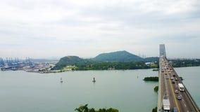 Ponte dos Americas através do canal do Panamá fotos de stock royalty free