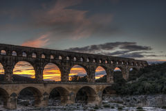 Ponte du Gard sunset. Sunset at the Ponte du Gard in  Southern France Stock Photography