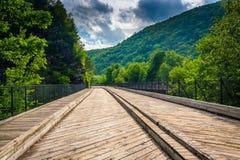 A ponte e as montanhas em Lehigh Gorge o parque estadual, Pensilvânia Imagem de Stock Royalty Free