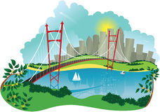 Ponte e cidade de suspensão ilustração stock