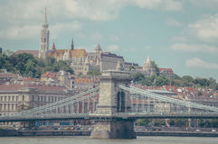 Ponte e città di Budapest Fotografia Stock Libera da Diritti