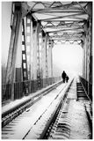 Ponte e duas figuras Fotografia de Stock