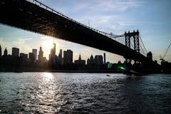 Ponte e New York City di Manhattan Fotografie Stock Libere da Diritti