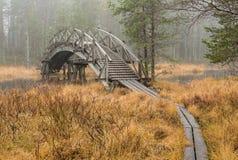 Ponte e passerelle di camminata di legno dell'itinerario fotografia stock