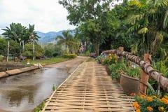 Ponte e strada di bambù del fiore Fotografia Stock