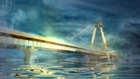 Ponte e tempestade Fotos de Stock