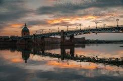 Ponte e tramonto Fotografia Stock Libera da Diritti